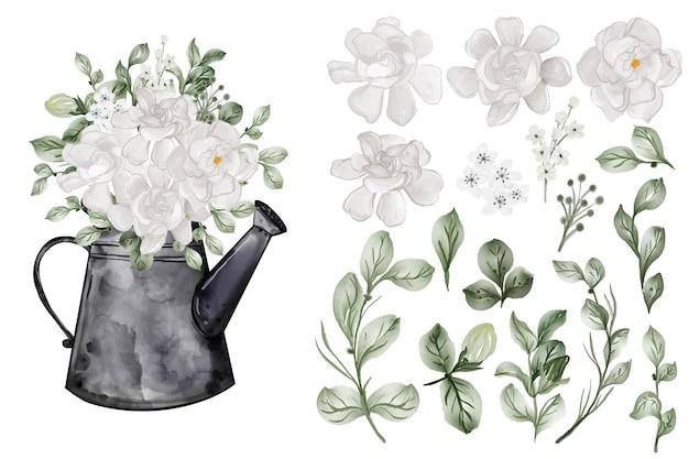 Variedade de folhas em aquarela com flor de gardênia branca