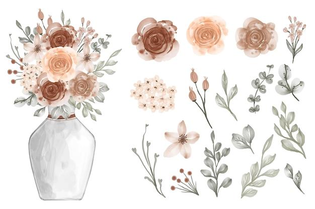 Variedade de folhas em aquarela com flores de cor bege suave e pastel