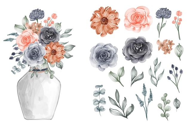 Variedade de folhas em aquarela com flores marinho e pêssego
