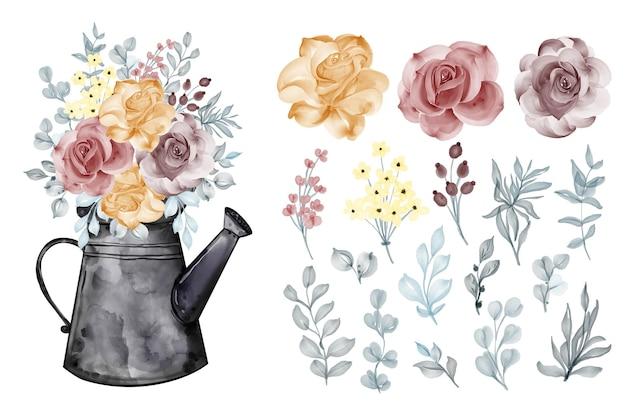 Variedade de folhas em aquarela com rosa laranja marrom