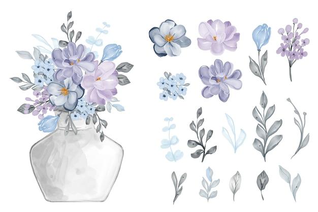 Variedade de folhas em aquarela e flores lilás
