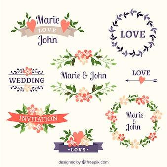 Variedade de frames florais do casamento