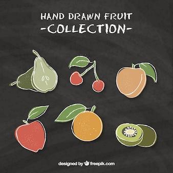 Variedade de frutas saborosas em estilo desenhado à mão