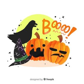 Variedade de fundo assustador elementos de halloween