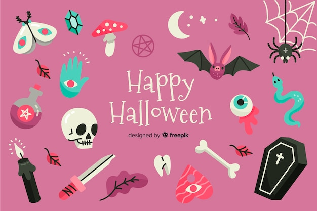 Variedade de fundo de decorações de halloween