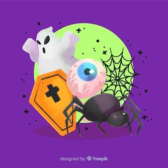 Variedade de fundo de elementos de halloween assustador