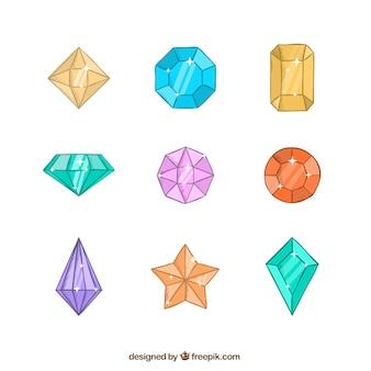 Variedade de gemas coloridas