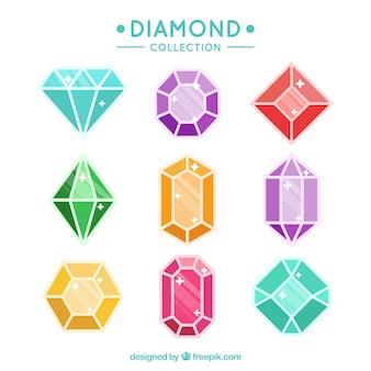 Variedade de gemas com diferentes cores e desenhos