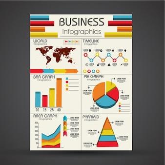 Variedade de gráficos infográfico com desenhos diferentes
