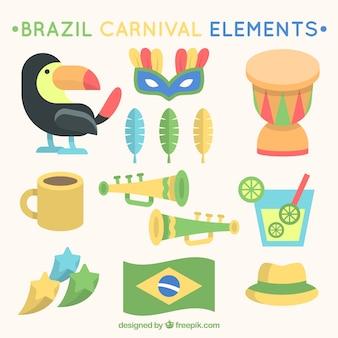 Variedade de grandes artigos para o carnaval brasileiro em design plano