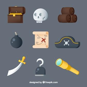 Variedade de grandes elementos de pirata