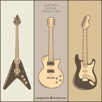 Variedade de guitarras elétricas vintage