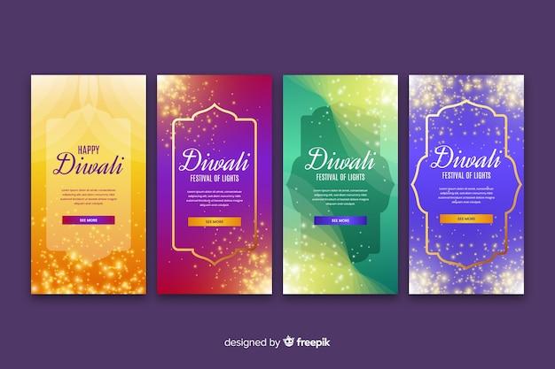 Variedade de histórias do instagram de diwali