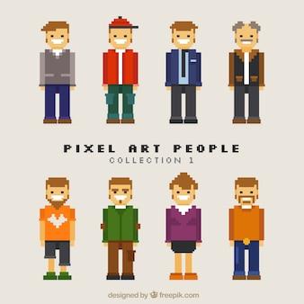 Variedade de homens pixelizada