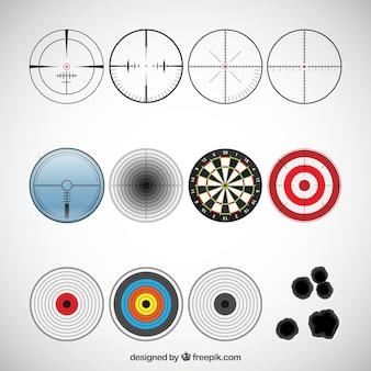Variedade de ícones alvo