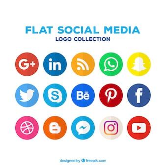 Variedade de ícones coloridos de mídia social