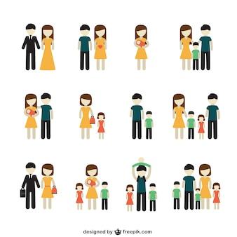 Variedade de ícones da família