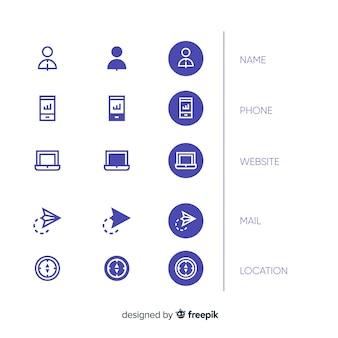 Variedade de ícones de cartão de visita de design plano
