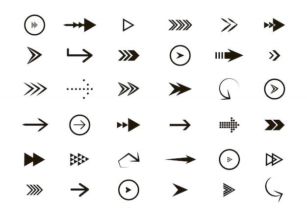 Variedade de ícones de setas