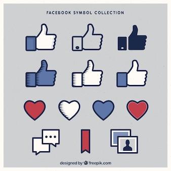 Variedade de ícones do facebook