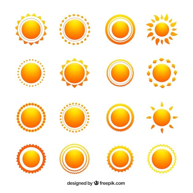 Variedade de ícones do sol