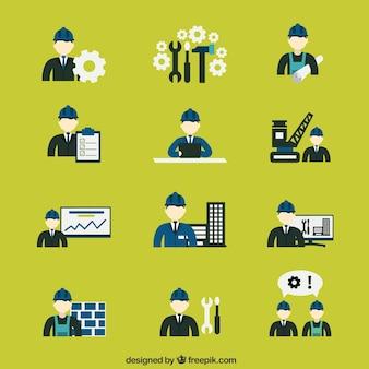 Variedade de ícones engenheiro de construção
