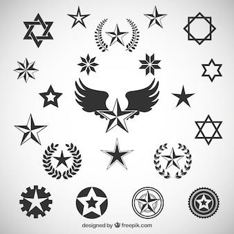 Variedade de ícones estrelas