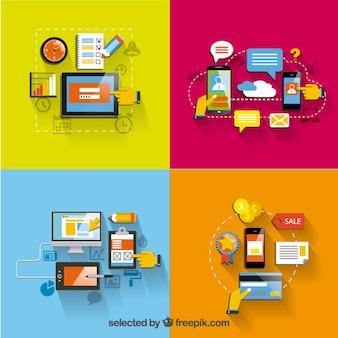 Variedade de ícones gadgets