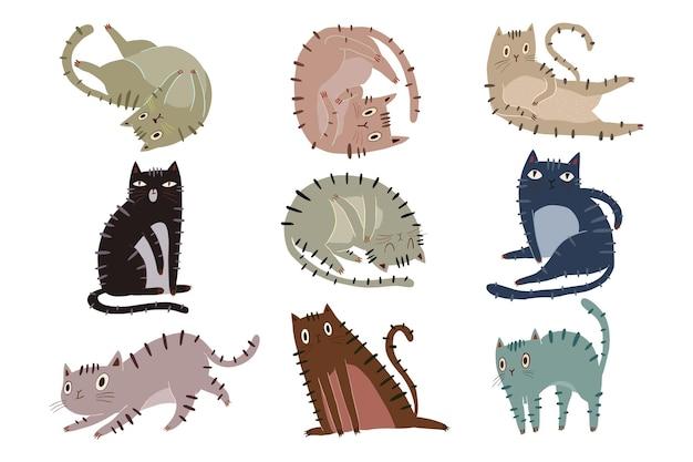 Variedade de ilustração de gato fofo