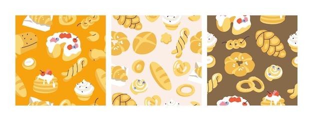 Variedade de ilustração vetorial de padrão sem emenda de doces diferentes para padaria