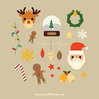 Variedade de itens bonitos do natal