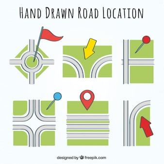 Variedade de localização estrada com ponteiros coloridos