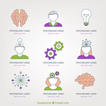 Variedade de logos psicologia plana