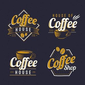 Variedade de logotipo retrô de café