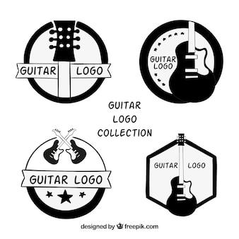 Variedade de logotipos com guitarras desenhadas à mão