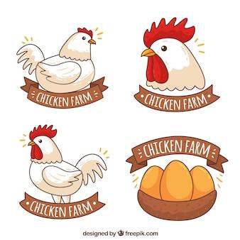 Variedade de logotipos de frango em estilo desenhado à mão