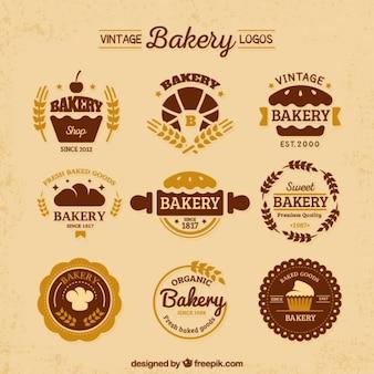 Variedade de logotipos de padaria planas do vintage