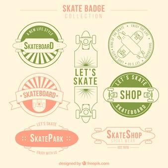 Variedade de mão desenhada emblemas de skate