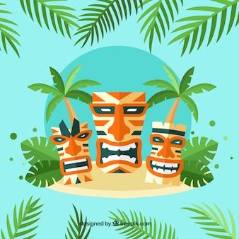 Variedade de máscaras tiki na ilha