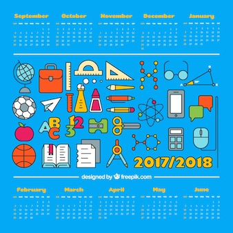 Variedade de materiais escolares e calendário