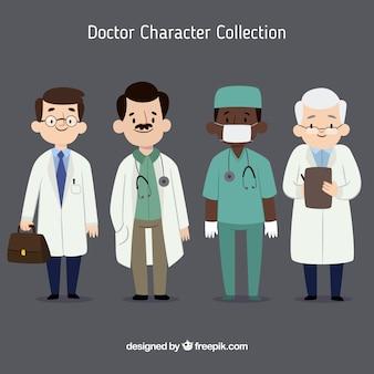 Variedade de médicos jovens e idosos