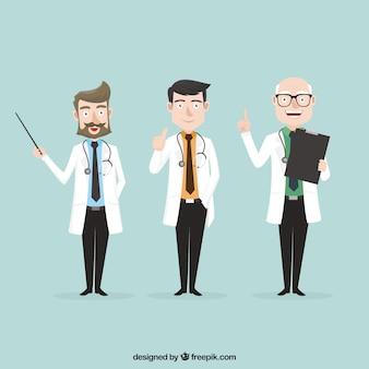 Variedade de médicos profissionais no trabalho