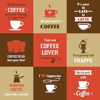 Variedade de mensagens de café bonitos