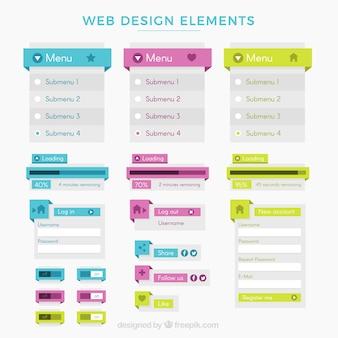 Variedade de menu e web elementos