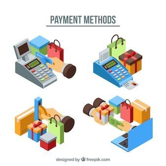 Variedade de métodos de pagamento com estilo isométrico