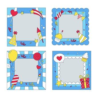 Variedade de molduras de colagem de aniversários desenhadas à mão