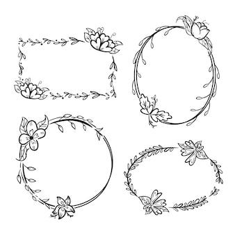 Variedade de molduras florais desenhadas à mão