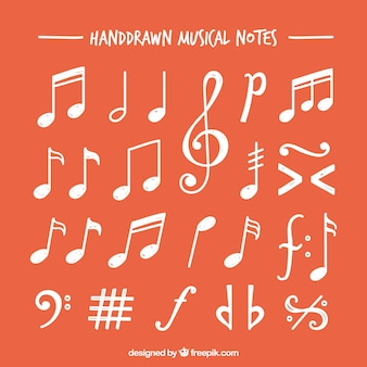 Variedade de notas musicais brancas desenhadas à mão