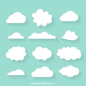 Variedade de nuvens desenhadas à mão