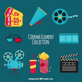 Variedade de objetos de cinema no design plano